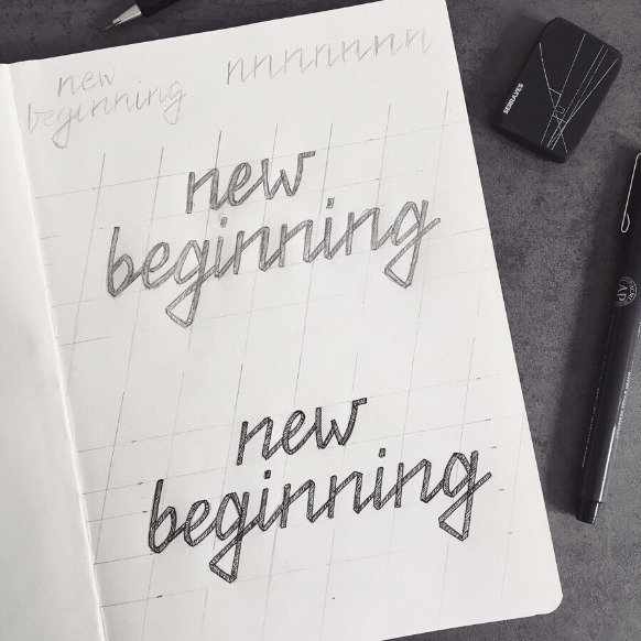 """new beginning"" - lettering artworks in a sketchbook by frayart"