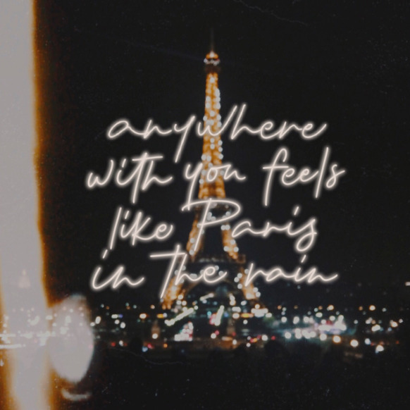 Anywhere with you feels like Paris in the rain - Lauv's lyrics, digital lettering by frayart