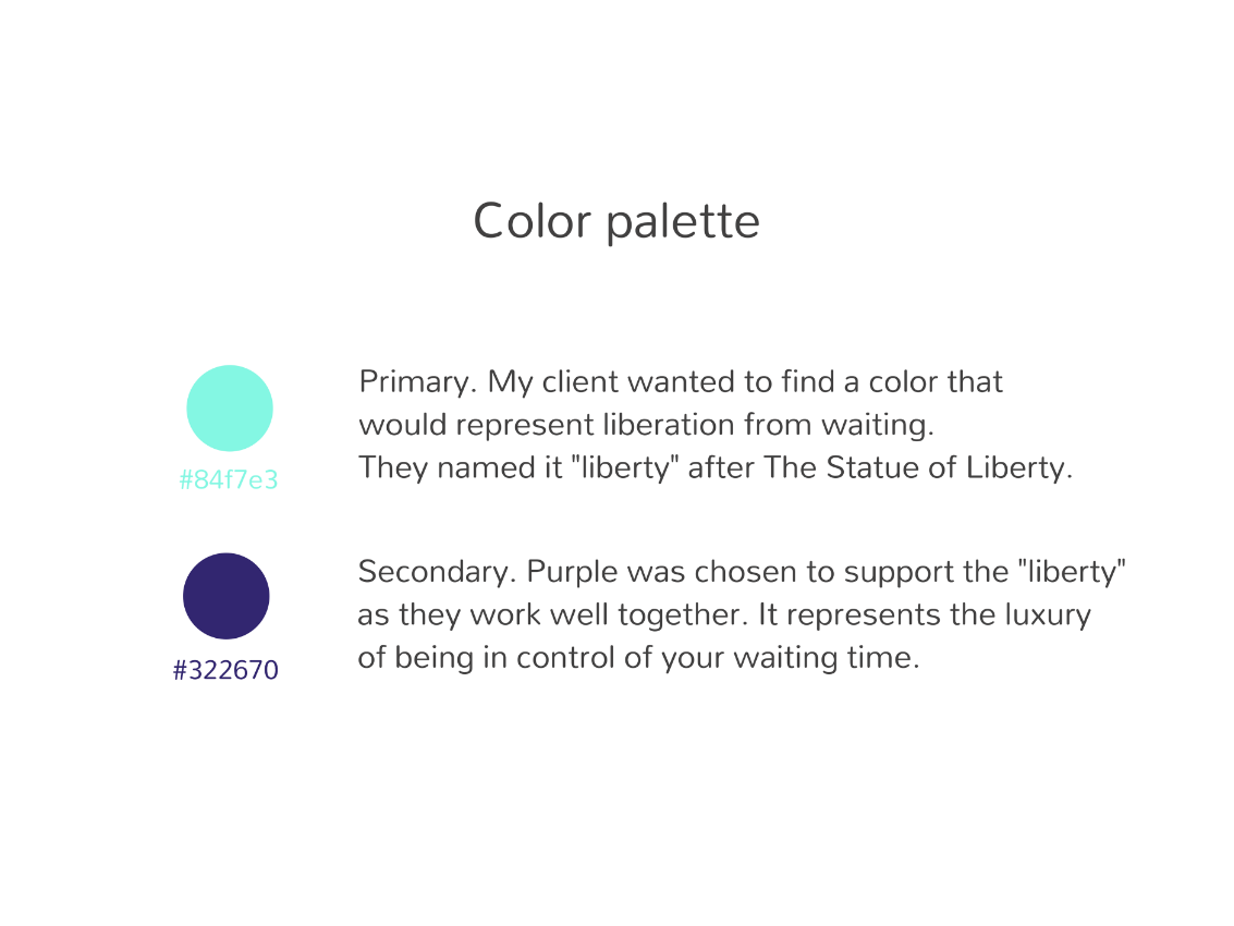 Color palette for eQueue brand identity