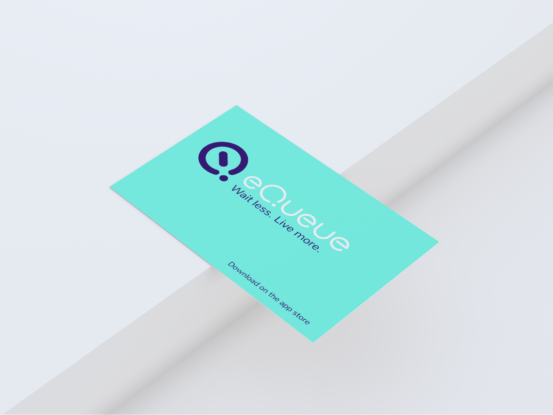 Queue logo design by Margarita Fray on a business card mockup
