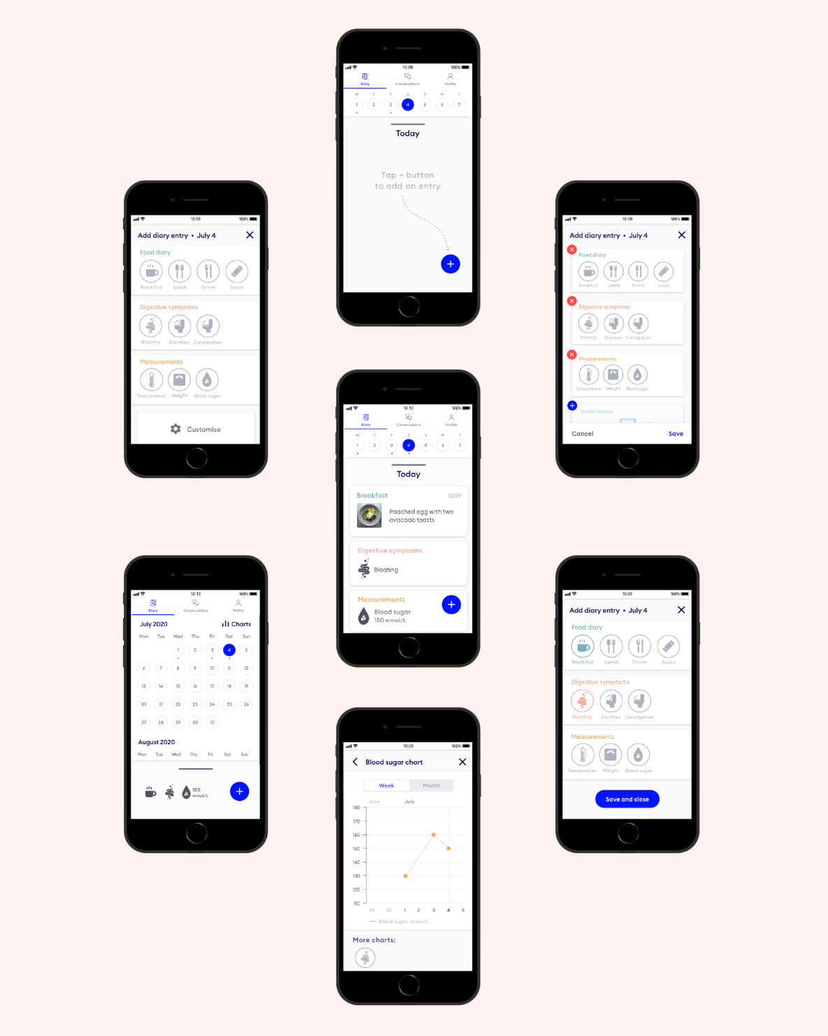 Nabla diary feature screenshots, UX/UI design by Margarita Fray